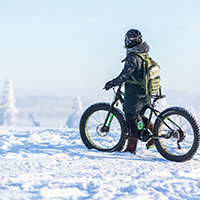 Go for a walk or go biking in the wintry forests!